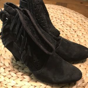 black suede betsy johnson heeled star boots